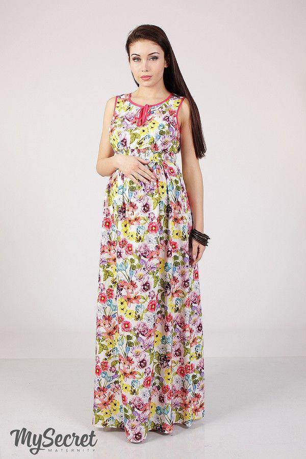 5553595be200769 Летнее длинное платье для беременных и кормления р. 44 ТМ Юла Мама Kathleen  SF-