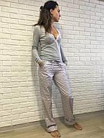 Женский домашний костюм S M L XL, серо-розовый, хлопок