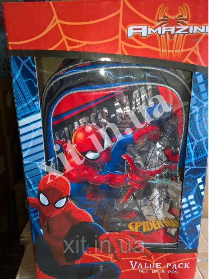 Детский набор 5 в 1 Spider-man :рюкзак на колесах, сумка, пенал, посуда