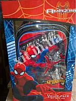 Детский набор 5 в 1 Spider-man :рюкзак на колесах, сумка, пенал, посуда, фото 1