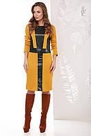 Женское платье из эко-кожи Клод комбинированное с трикотажем Джерси, фото 1