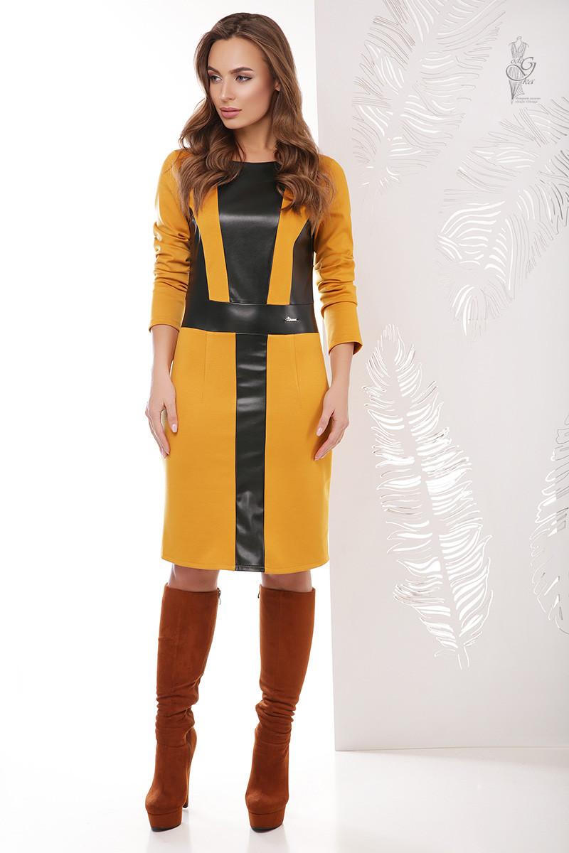 Женское платье из эко-кожи Клод комбинированное с трикотажем Джерси