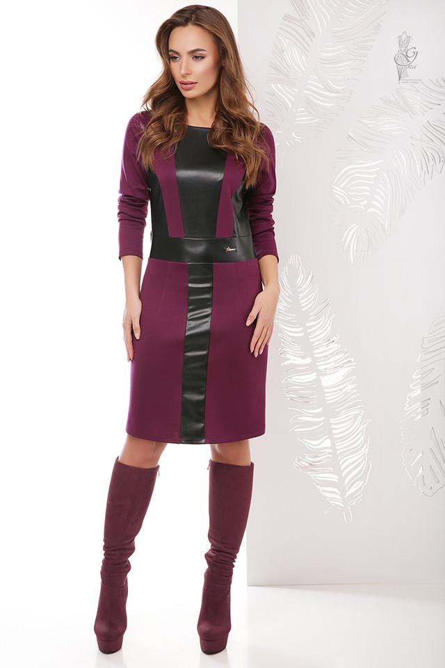 Бордовый цвет Женского платья из эко-кожи Клод