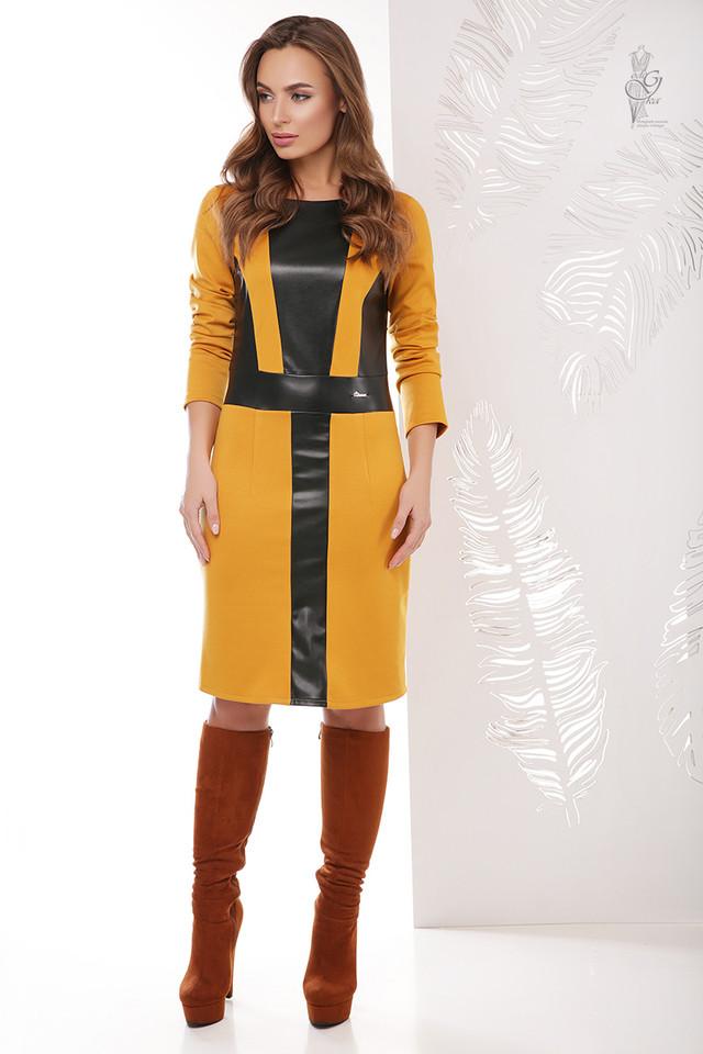 Цвет горчица Женского платья из эко-кожи Клод