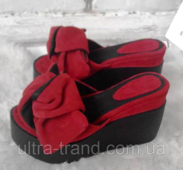 Сабо Star Банты! Босоножки женские шлепанцы на  платформе красный замш