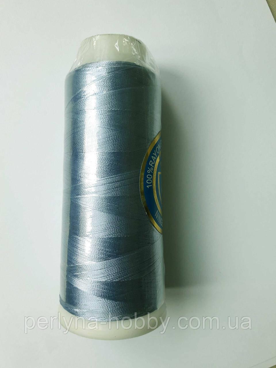 Нитки для машинной вышивки 100% вискоза (100% rayon) 3000 ярдів, № 227, темно-голубий