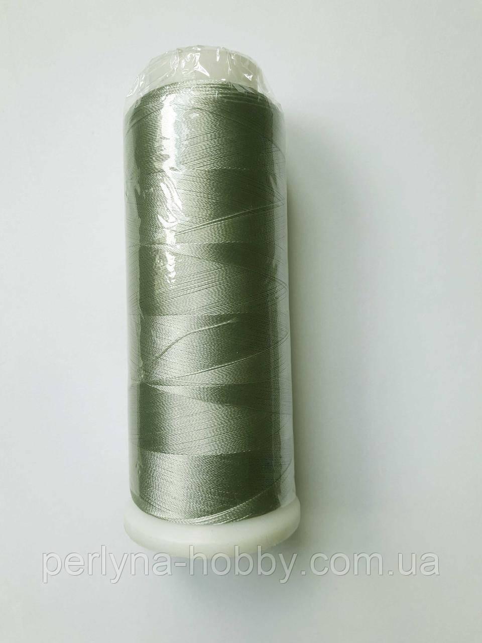 Нитки для машинної вишивки 100% віскоза (100% rayon) 3000 метрів, №488, пастельна сіро-зелена