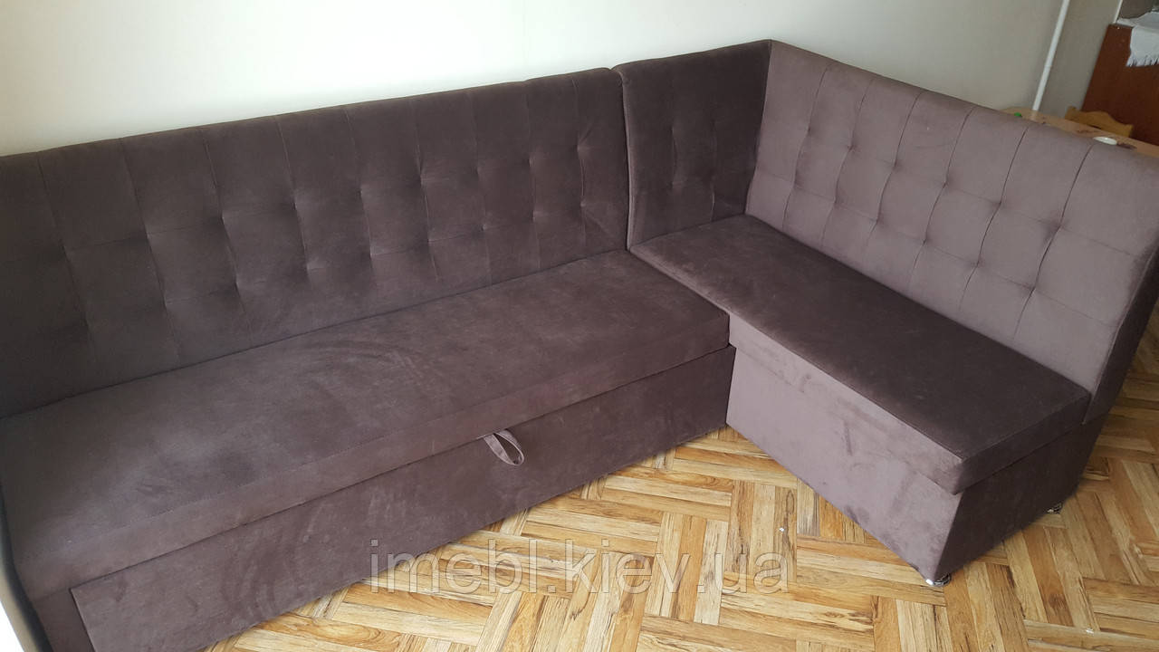 Кухонный угловой диван большого размера (Коричневый)