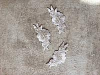 """Аплікації """""""" Квіточки з листочками"""", 5 х 2,5 см, (комплект 3 шт), срібляста люрексова"""
