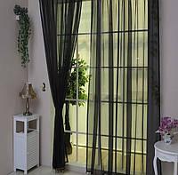 Готовые Шторы комплект для спальни из легкой ткани вуаль черная 4 м.
