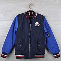 """Куртка-ветровка детская демисезонная """"03"""" для мальчиков. 4-9 лет. Темно-синяя со вставками электрик. Оптом., фото 1"""