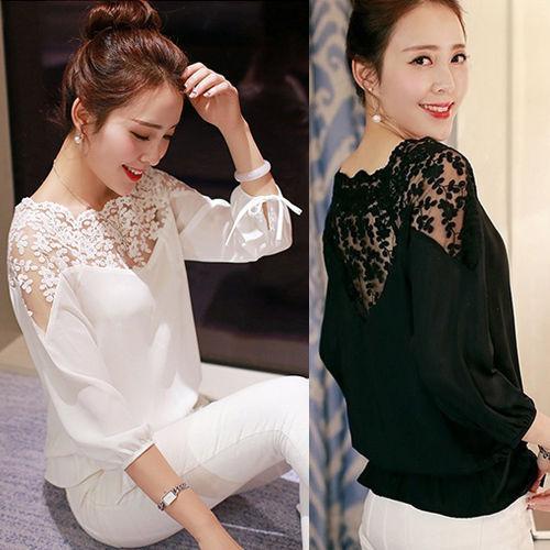 Кружевная молодежная женская блуза рукав три четверти на завязках
