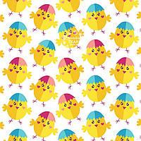 "Ткань бязь ""Цыплята"" в розовых и голубых шапочках  №1255а"