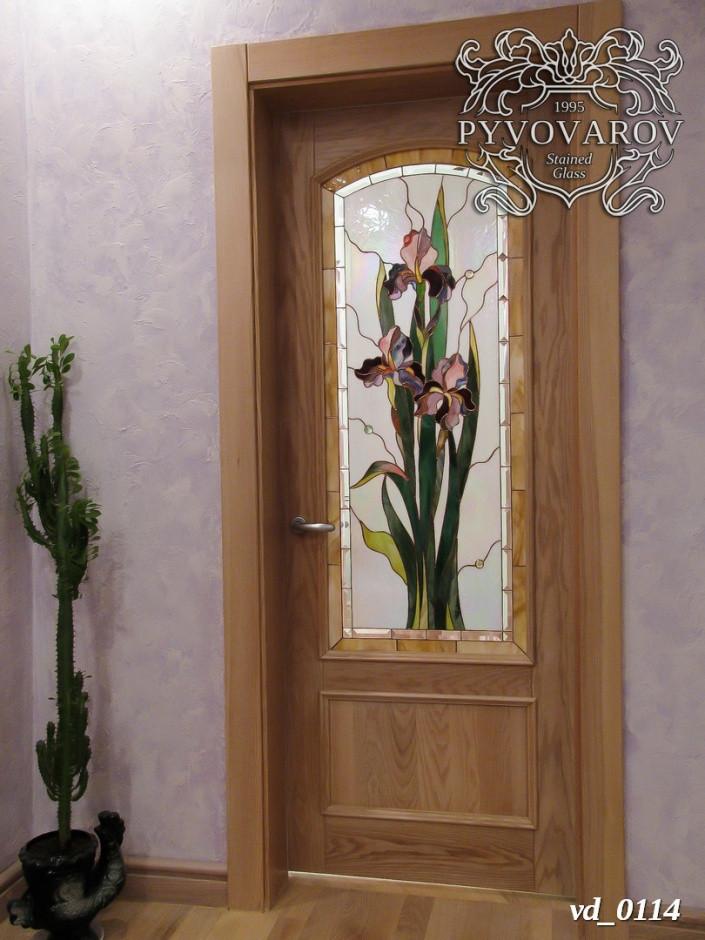 Витражные двери с ирисами Моне