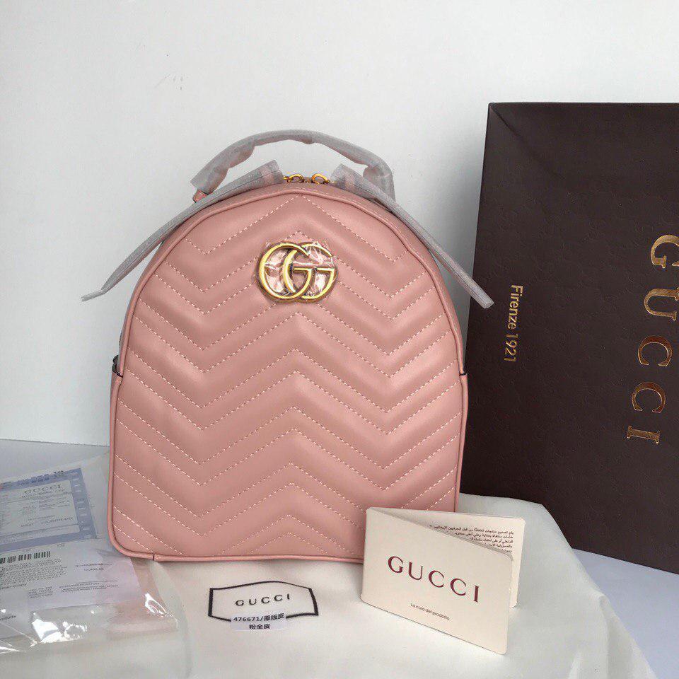 Рюкзак Гучи Marmont натуральна шкіра колір рожевий