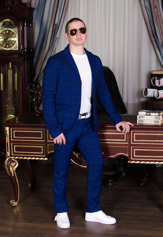 Мужской класический синий костюм в клетку шикарная модель для делового стиля и выпускного (р.44-48)