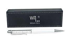 """Ручка металлическая, """"Crystal white"""", шариковая, поворотная, со стразами внутри, в кожзам футляре, WB-106"""