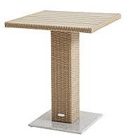 Садовый квадратный столик плетеный на одной ножке 60 см