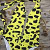 Злитий Купальник з глибоким вирізом і оригінальним візерунком S, M, фото 2