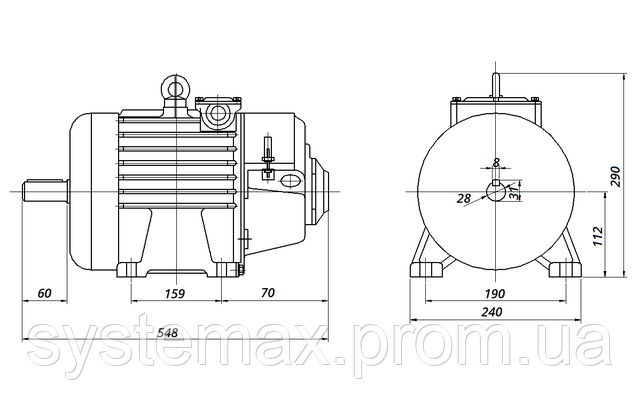 МТН 012-6 - IM1001 на лапах (габаритные и установочные размеры)