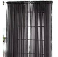 Готовая Тюль для спальни из легкой ткани вуаль  черного  цвета 6м.