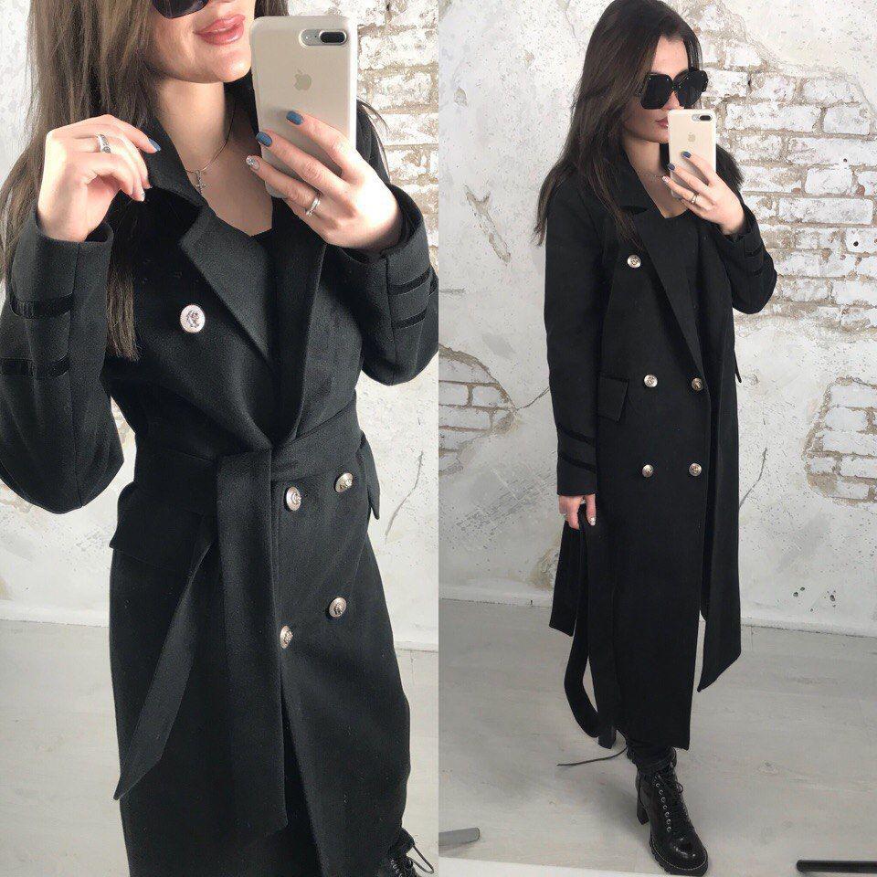 Ультрамодное пальто из кашемира черного цвета на атласной подкладке