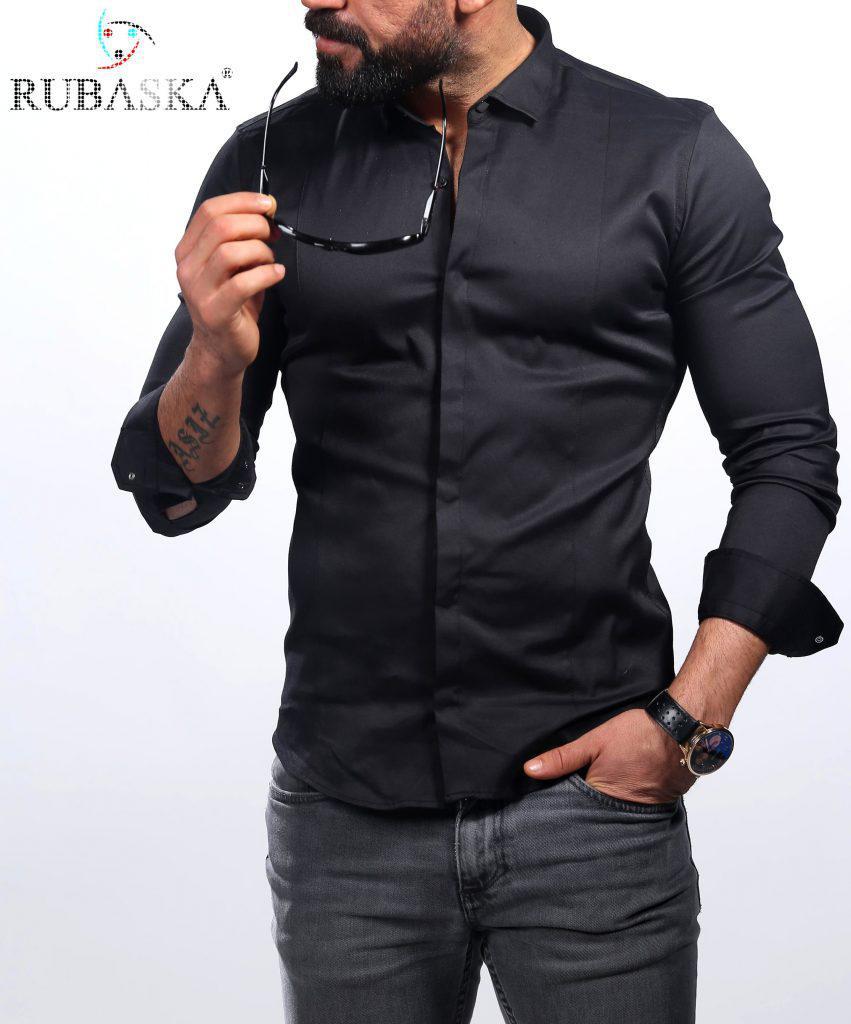 84e794f3461 Черная мужская рубашка с длинным рукавом из Турции