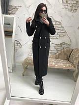 Ультрамодное пальто из кашемира черного цвета на атласной подкладке, фото 3