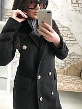 Ультрамодное пальто из кашемира черного цвета на атласной подкладке, фото 2