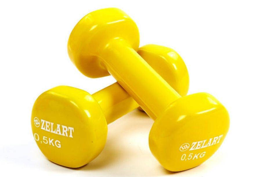 Гантели для фитнеса обрезиненные Zelart Beaut по 0,5кг (2шт*0,5кг), разные цвета