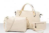 Женская сумка набор 3в1 из экокожи белый опт, фото 1