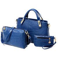 Женская сумка набор 3в1 из экокожи синий опт, фото 1