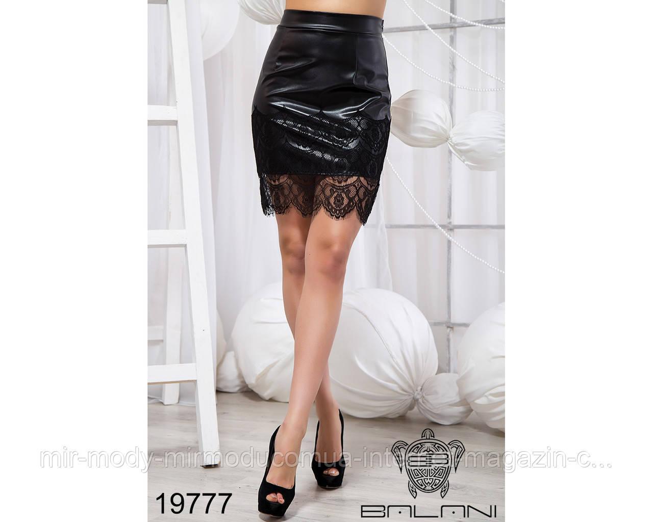 Короткая юбка с кружевом - 19777 бн