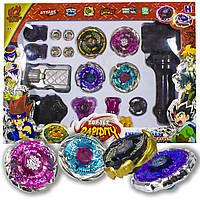 ➤Волчки Бейблейд детская игрушка Beyblade настольная набор 4-штуки с двумя пускателями и сменными основами