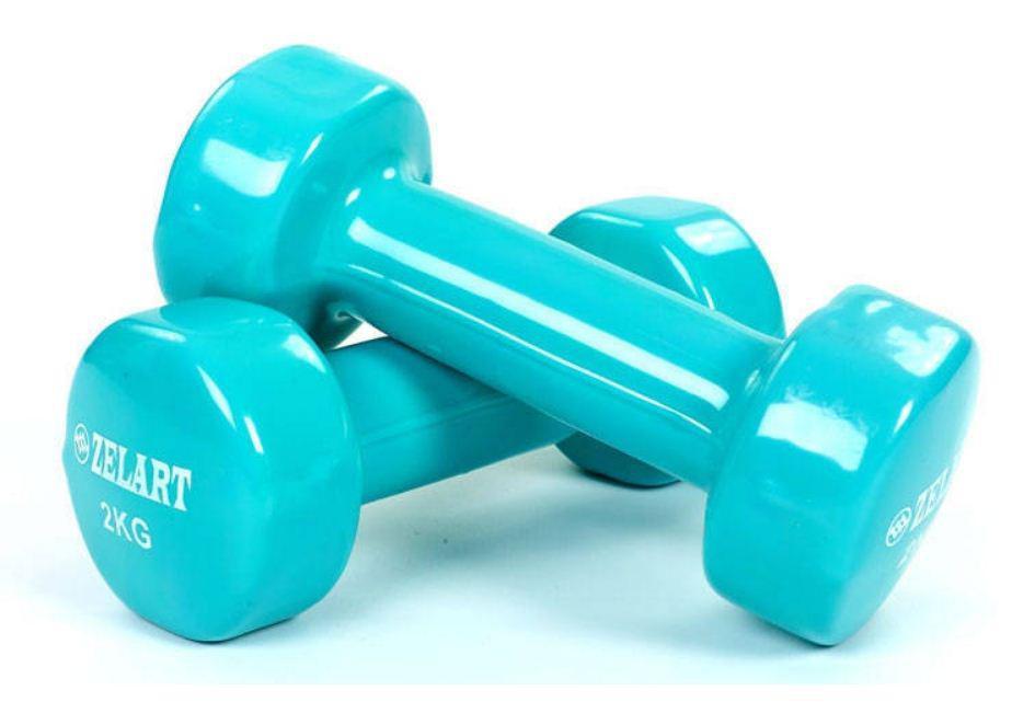 Гантелі для спорту, фітнесу та будинку вінілові по 2,0 кг (2шт*2кг), різні кольори