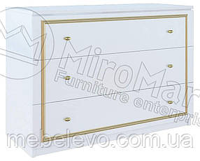 Ева Комод 3Ш 820х1180х490мм белый глянец + золото   Миро-Марк