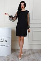 Красивое вечернее платье полубатал из новой коллекции, рукава с бусинами, два цвета, р.50, 54 код 1395М