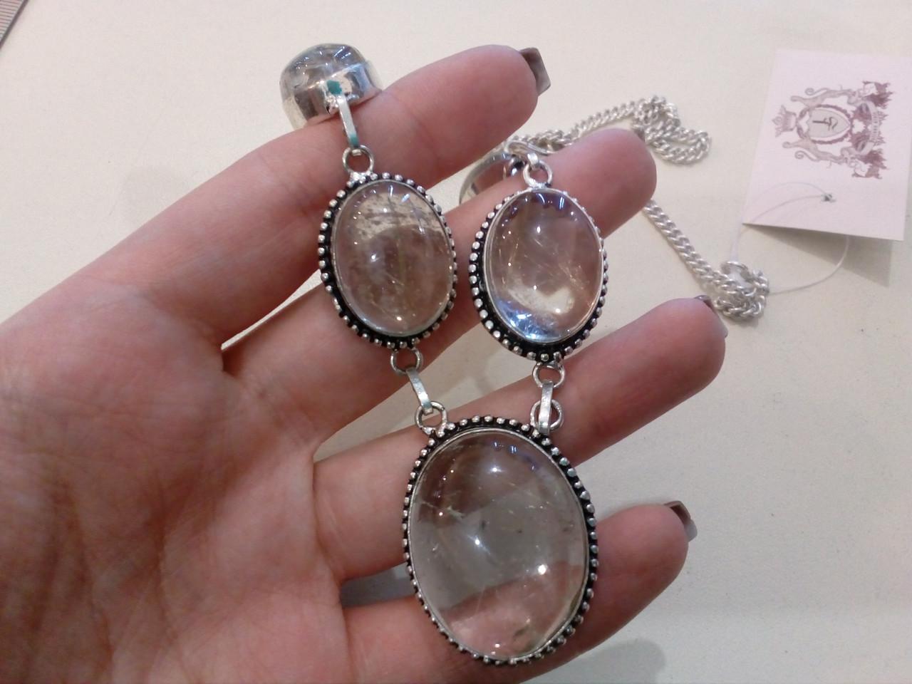 Кварц волосатик Волосы Венеры ожерелье с рутиловым кварцем в серебре