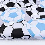 """Лоскут ткани №1167 """"Футбольные мячи"""", цвет голубой и чёрный , фото 2"""