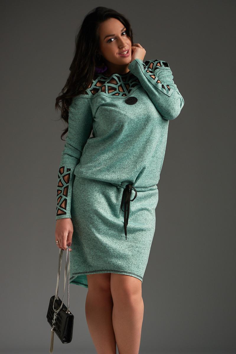 2eee395a81ed760 Женское ангоровое платье большого размера с перфорацией +цвета - Интернет  магазин