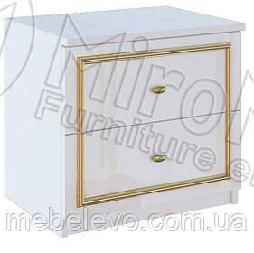 Ева Тумба прикроватная 2Ш 485х533х390мм белый глянец + золото   Миро-Марк
