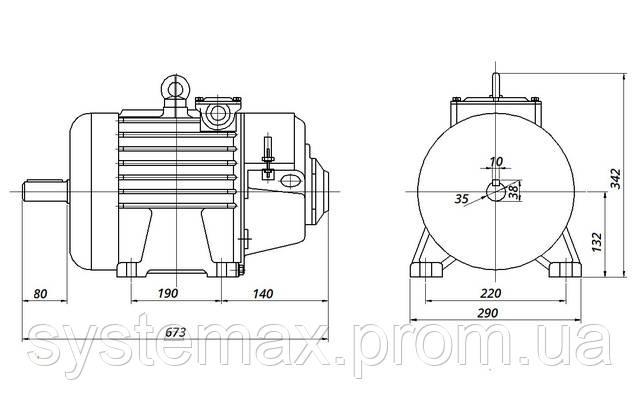 МТН 111-6 - IM1001 на лапах (габаритные и установочные размеры)