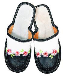 """Тапочки домашние женские кожаные """"Цветы"""" черный 38"""