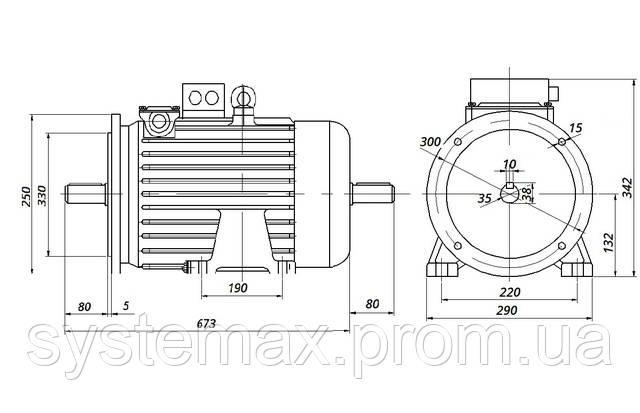 МТН 111-6 - IM2002 фланец на лапах (габаритные и установочные размеры)