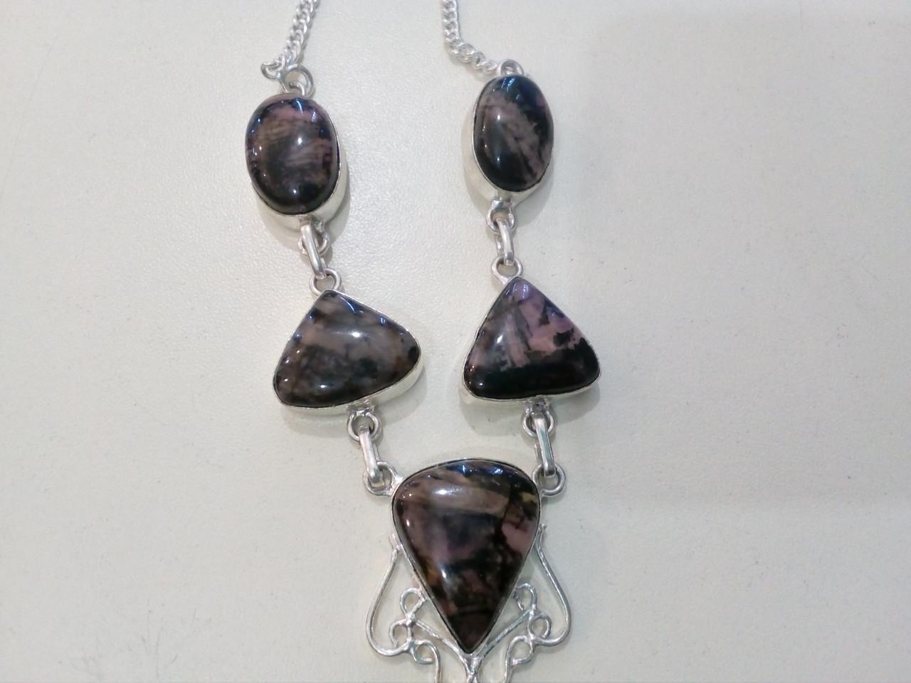 Родонит ожерелье с натуральным родонитом в серебре