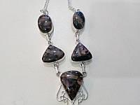 Родонит ожерелье с натуральным родонитом в серебре, фото 1