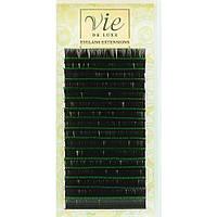 Ресницы черно-зелёные Микс (Mix) в ленте для наращивания Изгиб C; Толщина 0,15