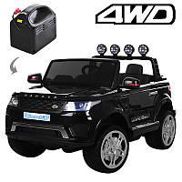 Электромобиль Джип  р/у(2,4G), 4мотора,12V/10AH, колес а EVA, двери открываютщиеся, амортизатор, съемные батарейки, кожаные сиденья, черный,  M