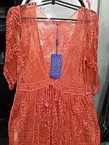 Пляжный халат в пол 801 Гипюр желтый на размеры 48-50., фото 3