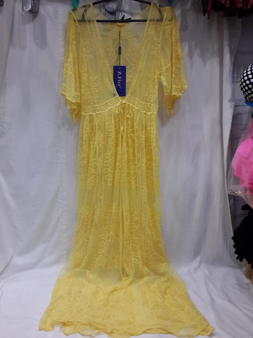 Пляжный халат в пол 801 Гипюр желтый на размеры 48-50.